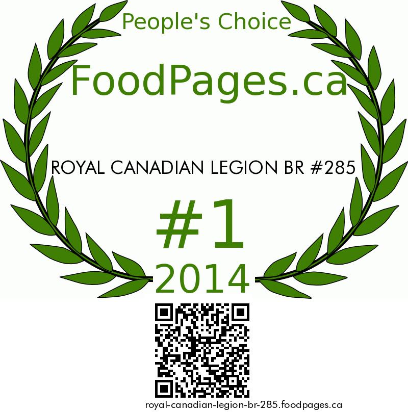 ROYAL CANADIAN LEGION BR #285 FoodPages.ca 2014 Award Winner